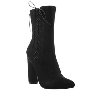 Faux Suede Side Lace Up Block Heel Mid Calf Boots